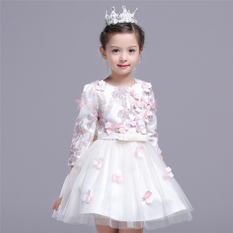 Spring Embroidery Girls Dress 3D Flower Long Sleeve Princess Formal Party Dress Children Clothing with Bow Vestido 4 to 9 Years girls europe and the united states children s wear red princess long sleeve princess dress child kids clothing red bow lace
