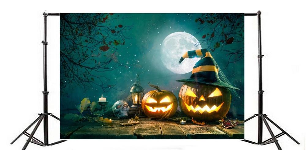 Laeacco Halloween Pumpkin Ghosts Lamps Moon Night Wooden Floor Photography Backdrops Vinyl Custom Backgrounds For Photo Studio
