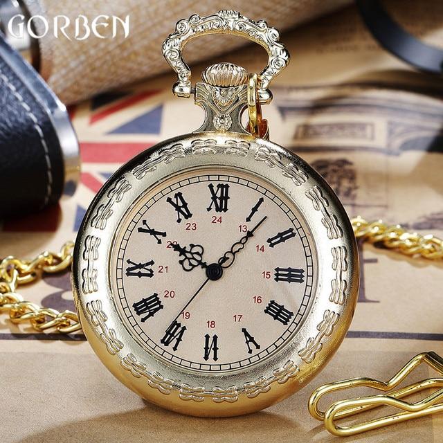 Luxury Golden Steampunk Quartz Pocket Watch Roman Number Luminous Dial Sculpture