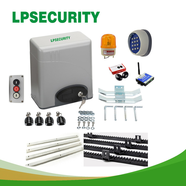 120V/230V AC 600kg GSM automatic electric sliding gate opener motor operator kit 4 remote controllers 4m/5m racks 1 photocell