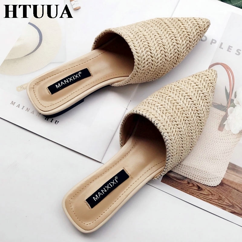 HTUUA 2019 Women Slippers Fashion Pointed Toe Weave Mules Shoes Flat Slides Summer Beach Flip Flop Outside Slip On Shoes SX1964