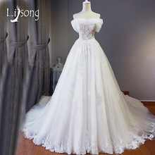 A-line Off Shoulder Chapel Train Wedding Dresses Long vestido de noiva Illusion Bridal Formal Dress Fabulous Brides Wedding Gown
