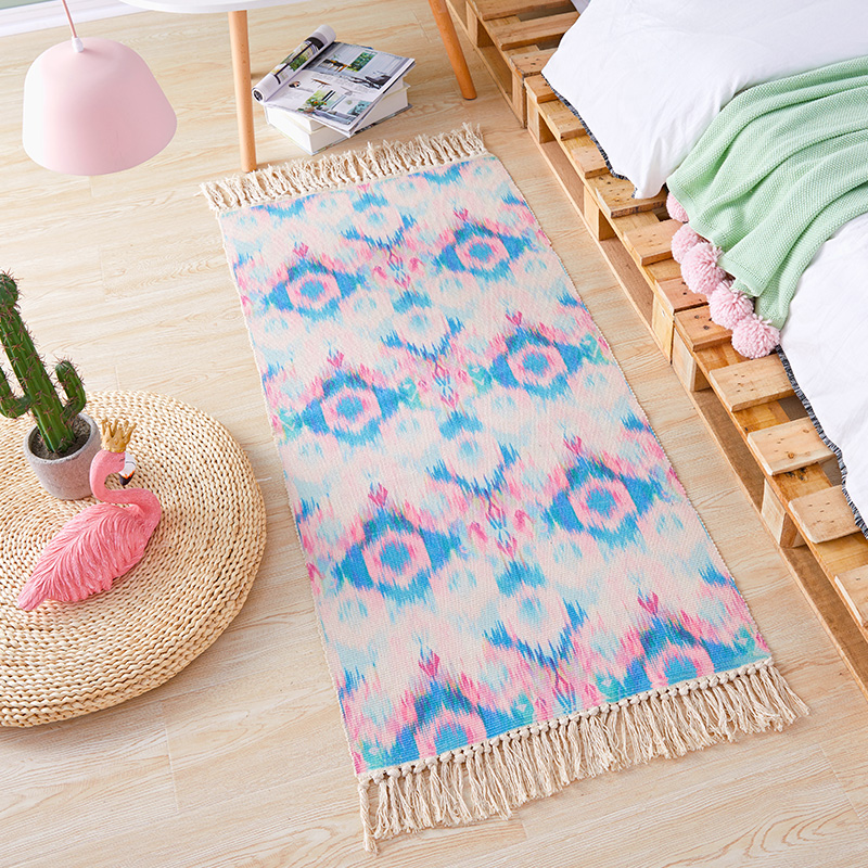 Bedside Carpet Cotton Woven Mat Bathroom Living Room Morocco Carpets Geometric Hand Made Indian Rug Bohemian Modern Runner Rug