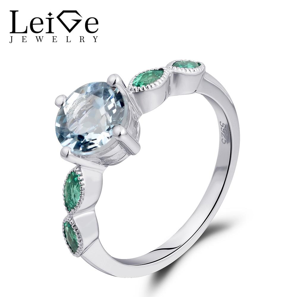 Leige šperky Zásnubní prsteny pro ženy March Birthstone Natural Aquamarine Ring 925 Sterling Silver Round Cut Prong Setting