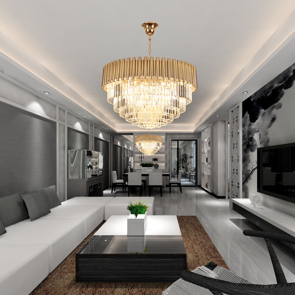 Modern living room chandelier lighting luxury gold chain crystal light fixture dining room hallway polished lustres de cristal in chandeliers from lights