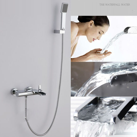 Bath & Shower Bathroom Chrome Shower Faucet Set Handheld Mixer Tap With ABS Hand Shower Head Shower Faucet Set Wall Mounted
