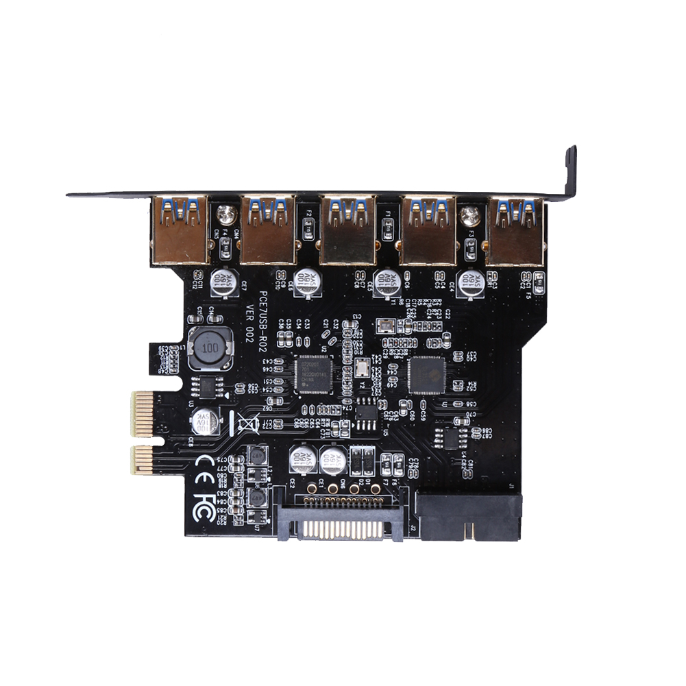 цена на Super Speed PCI-E to USB 3.0 19-Pin 5 Port PCI Express Expansion Card Adapter SATA 15Pin Connector with Driver CD for Desktop