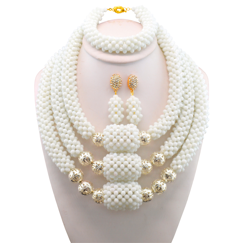 Free Shipping Silver Ball White African Beads Jewelry Set 2017 Nigerian Wedding African Beads for Brides