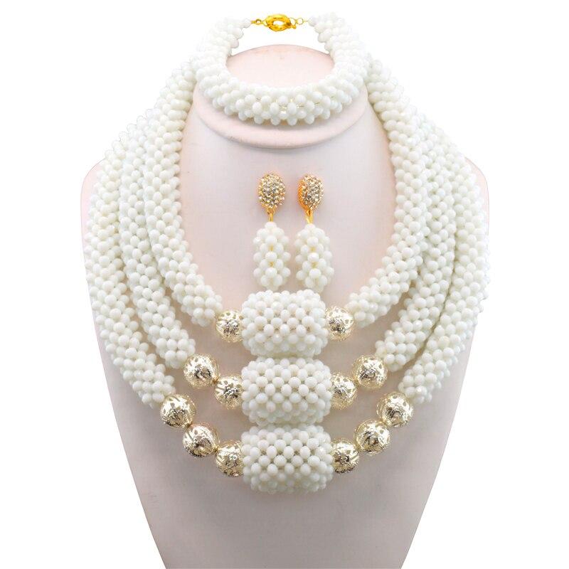 Livraison Gratuite Argent Balle Blanc Perles Africaines Ensemble de Bijoux 2017 Mariage Nigérian Perles Africaines pour les Mariées Parti Bijoux De Mariée