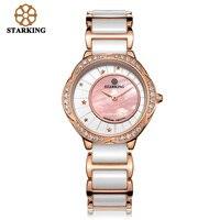 STARKING Women Dress Wristwatch Ceramic Watch Band Import Quartz Movement Luxury Pink Blue Ladies Wristwatches Relogio Feminino