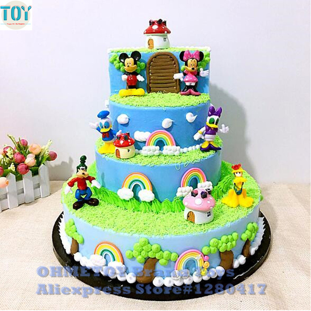 New 6pcs Mickey Mouse Minnie Goofy Donald Duck Pluto Clubhouse Action Figures Playset Cartoon Figurine Cake