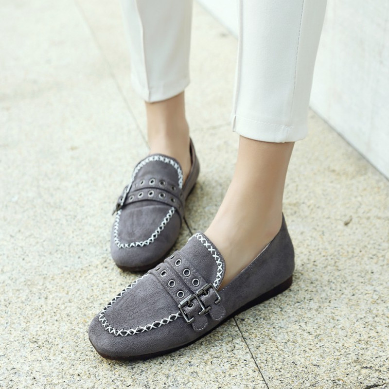 Plus Size 34 44 New Women Flats Shoes Fashion Buckle Strap for Woman Casual Single Shoes Lady Soft Moccasins Boat Zapatos Mujer in Women 39 s Flats from Shoes