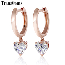 Transgems Geuine 14K Rose Gold Heart Shaped Moissanite Drop Earrings for Women 5mm F Color Ladies Pink