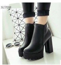 SLYXSH Women's Fashion Side Zipper Ankle Boots Platform Thick High Heel 12 cm Ladies Boots Winter Woman Shoes Black boot(China)