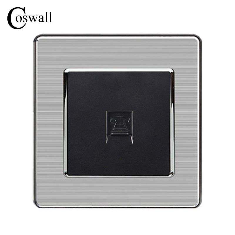 COSWALL 1 Gang RJ11 2 Core Telephone Connector Luxury Wall Socket Outlet Stainless Steel Brushed Silver Frame Panel COSWALL 1 Gang RJ11 2 Core Telephone Connector Luxury Wall Socket Outlet Stainless Steel Brushed Silver Frame Panel
