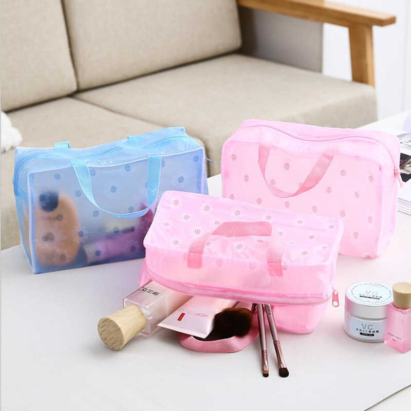 Portable Waterproof Cosmetic bag Transparent Makeup Bag Zipper handbag Organizer Women Travel Toiletry Bag bath bag beauty bag