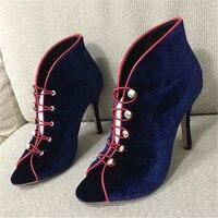 MIQUINHA 2017 New Arrival Peep Toe Women Shoes Scarpe Donna Vintage Flock Buckle Strap High Heels