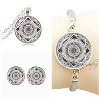 Buddhism Mandala Flower Necklace Set Silver Plated Indian Om Post Earring Glass Dome Bracelet Bangle Henna