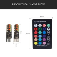 T10 LED Car Clearance Lights Bulbs RGB Remote Control 194 168 501 Strobe Led Lamp Reading Interior Light 29