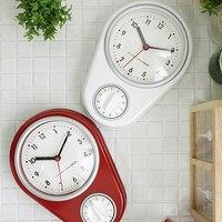 현대 미니멀리스트 레드 카운트 다운 기능 크리 에이 티브 음소거 침실 주방 벽 배터리 시계 타이머