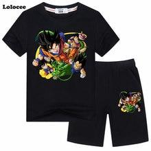 Kids Cartoon Dragon Ball Goku Costumes Boys Tracksuit Cotton Short Sleeve T-Shirt Top+Shorts 2pcs Outfit Sport Suits