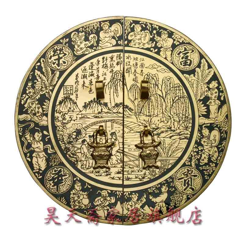 [Haotian vegetarian] antique furniture copper fittings / copper handle / door handle 24cmHTB-017 candy color bear ceramic drawer handle for children lovely furniture fittings