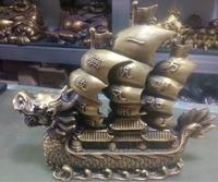 Статуя древнего китайский фэн шуй украшения дома латунный Дракон лодка павильон Гладкий Бесплатная доставка