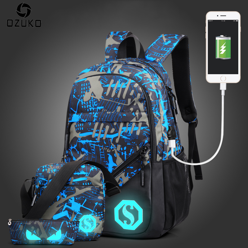 OZUKO Fashion Men's Backpack Luminous Students School Bags External USB Charge Laptop Backpacks Teenagers Casual Travel Mochila