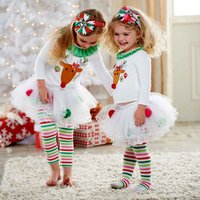 Elegant Style Christmas Baby Girls Reindeer Top Tutu Tulle Pants Outfit Set Children New Clothing