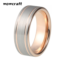 8mm Rose Gold Tungsten Carbide Ring for Men Women Wedding Band Rings Double Grooved Pip Cut Matte Surface Comfort Fit eejart tungsten ring fashion black and rose gold wedding ring sport ring band 8mm tungsten carbide rings for men jewelry