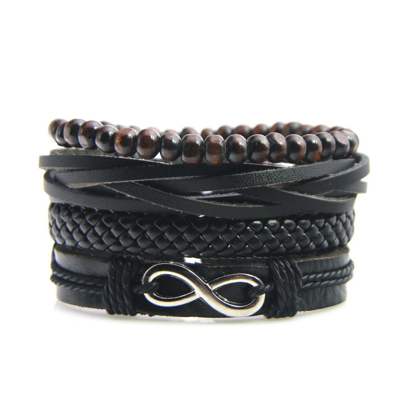 4 Teile/satz Mode Vintage Handmade Braid Leder Armband Holz Perle Strang Armbänder Männer Leder Lace-up-armband Frauen Schmuck Rabatte Verkauf