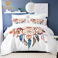 Dream Catcher Bedding Sets Colorful Feather Print Duvet Cover Set Bohemia Style Bed Cover White Bedclothes 3Pcs Quilt Cover 25