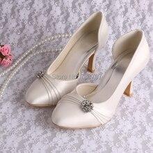 Новый Стиль Свадебная Обувь Свадебные Слоновой Кости 9 СМ Каблуки Круглые Обувь Пальца Ноги Насос Для Женщин