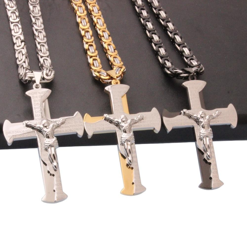 nuevo. Un precioso color Negro//Plata Cruz//Crucifijo Collar