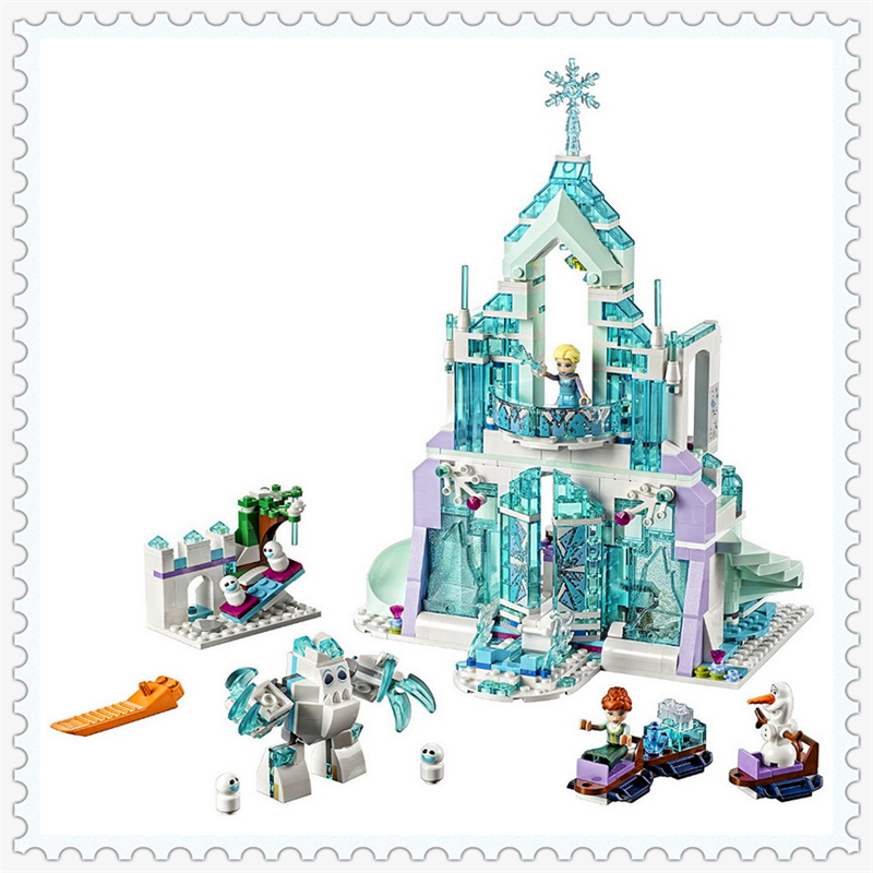 LEPIN 25002 Princess Elsa's Magical Ice Palace Building Block 731Pcs DIY Educational  Toys For Children Compatible Legoe decool 3114 city creator 3in1 vehicle transporter building block 264pcs diy educational toys for children compatible legoe