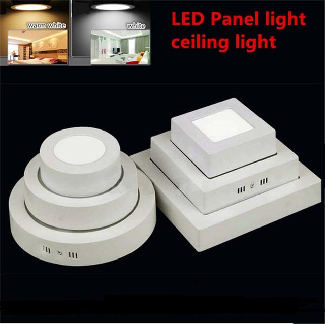 Free shipping 9W/15W/25W Round/Square Led Panel Light Surface Mounted Downlight lighting Led ceiling down AC85-265V + Driver