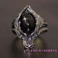 925 серебряные кольца лунный камень / черная звезда камень кабошон японские модели импорт тайский серебряное облако волк ретро кольцо