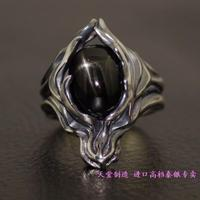 925 sterling silver rings Moonstone/Black Star stone cabochon Japanese models import Thai silver cloud wolf ring
