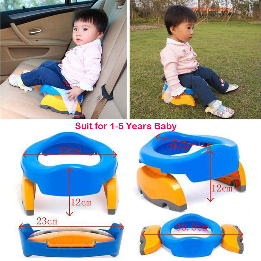 Portable Baby Foldaway Toilet Training Seat Plastic Travel Potty with Urine Bag For Kids Mini Camping WC Children Pad On Toilet image