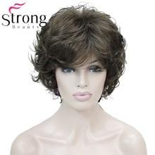 StrongBeauty krótka falista miękka klasyczna czapka pełna peruka syntetyczna brązowe peruki damskie wybór kolorów
