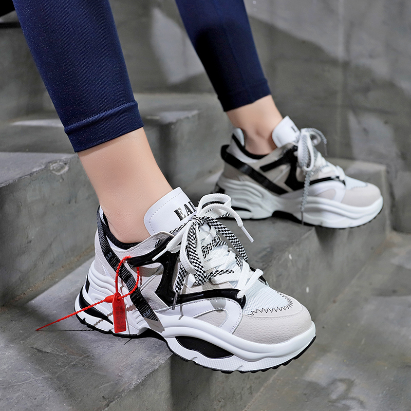 1ae6de7ad Fashion 2019 Harajuku Women Casual Shoes Lace Up Leather Dad Chunky Sneakers  Flat Thick Sole Tenis Wedge White Basket Walking-in Ankle Boots from Shoes  on ...
