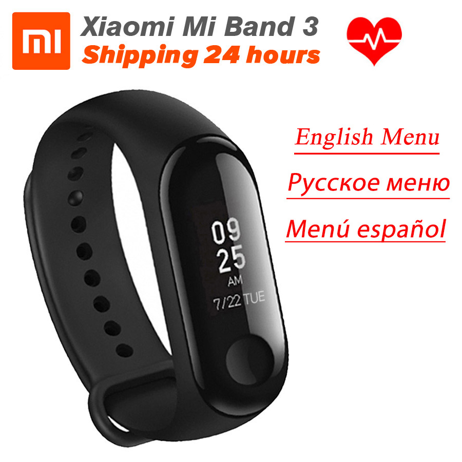 In Stock Xiaomi MiBand 3 Mi band 3 Fitness Tracker Heart Rate Monitor 0.78'' OLED Display Touchpad Bluetooth 4.2 For Android IOS