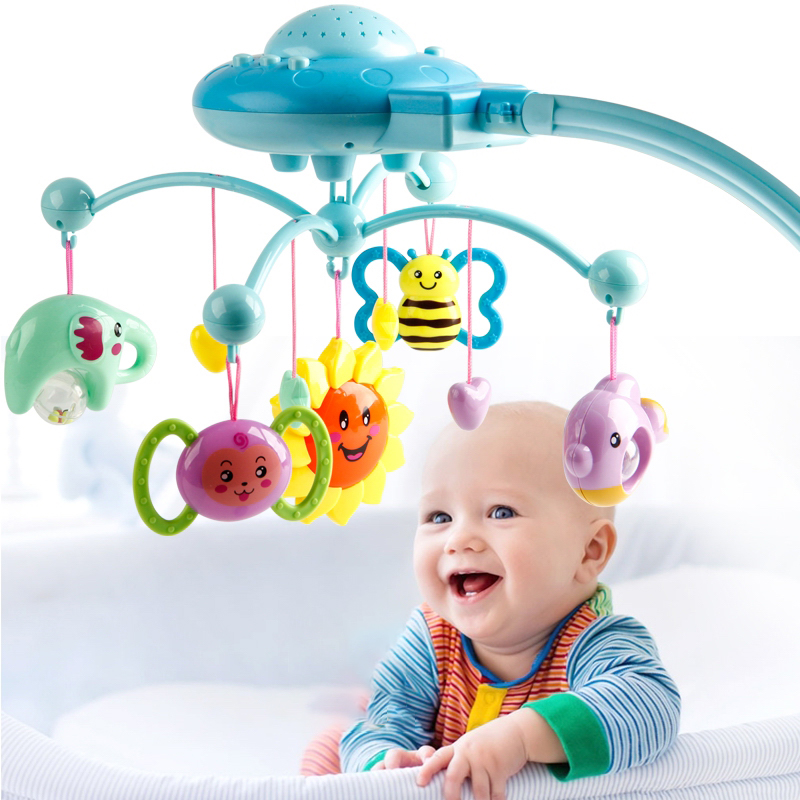 FBIL-Baby Rattle Infant Toys For 0-12 Months Crib Mobile Bed Bell With Music And Sky Stars Projection Early Learning Kids Toy