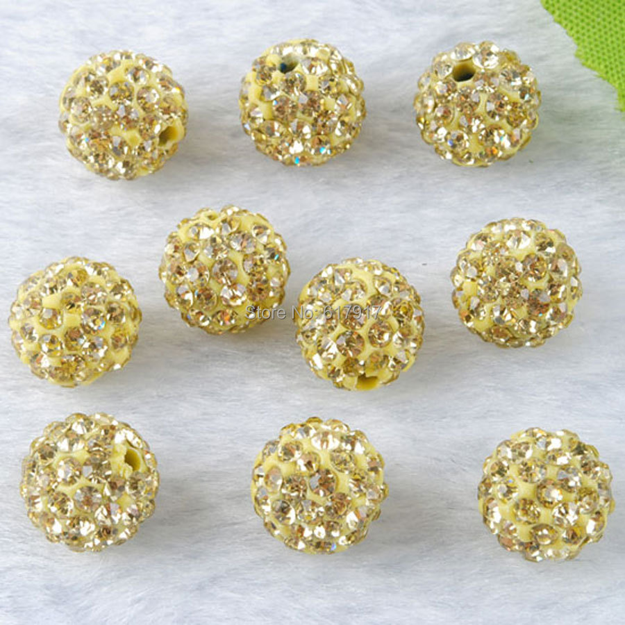 33color 50pcs 10mm Lemon Yellow Shamballa Beads Clay Pave Rhinestone Crystal Shamballa Ball Beads For Diy Jewelry Making Beads & Jewelry Making