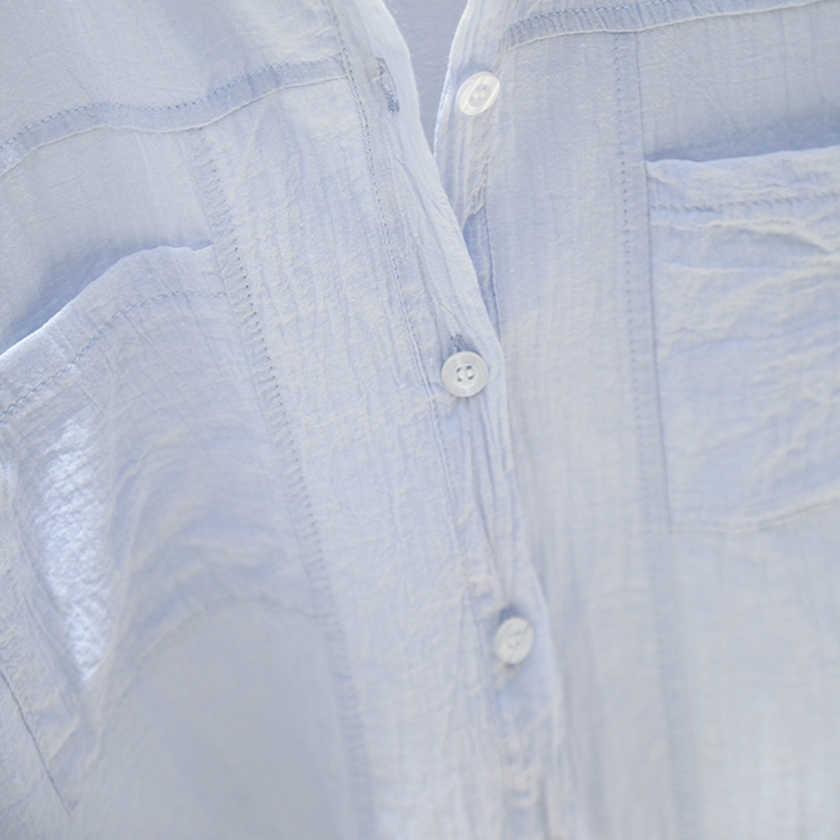 חדש הגעה נשים מוצק דק Oversize לבן חולצה עטלף שרוול כיסים ארוך חולצה תורו למטה צווארון מזדמן למעלה T96606F