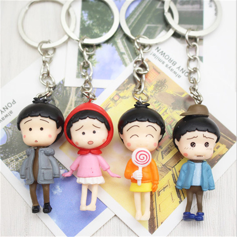 1Pcs PCV Plastic Mini Lovely Cartoon Character Keychain Neutral Fashion Creative Model Key Ring