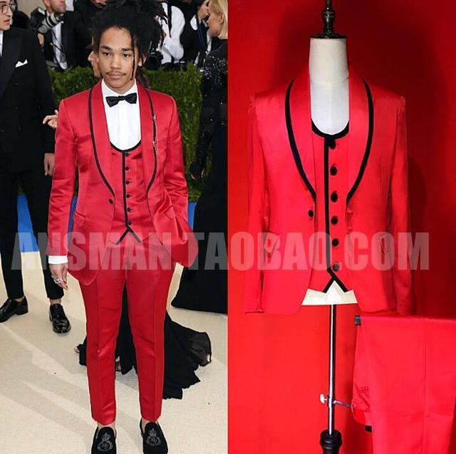 (jacket+vest+pants) Nightclub New Male Singer DJ Model High-end Catwalk Party Red Satin Blazer Stitching Suit Men Costume Set