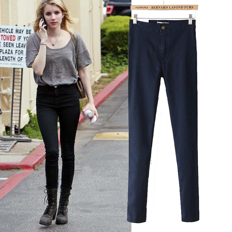 ФОТО Autumn Winter Elastic High Waist Jeans Woman Denim Skinny Jeans Femme Pantalon Women Push Up Pencil Pants American Apparel PT-8