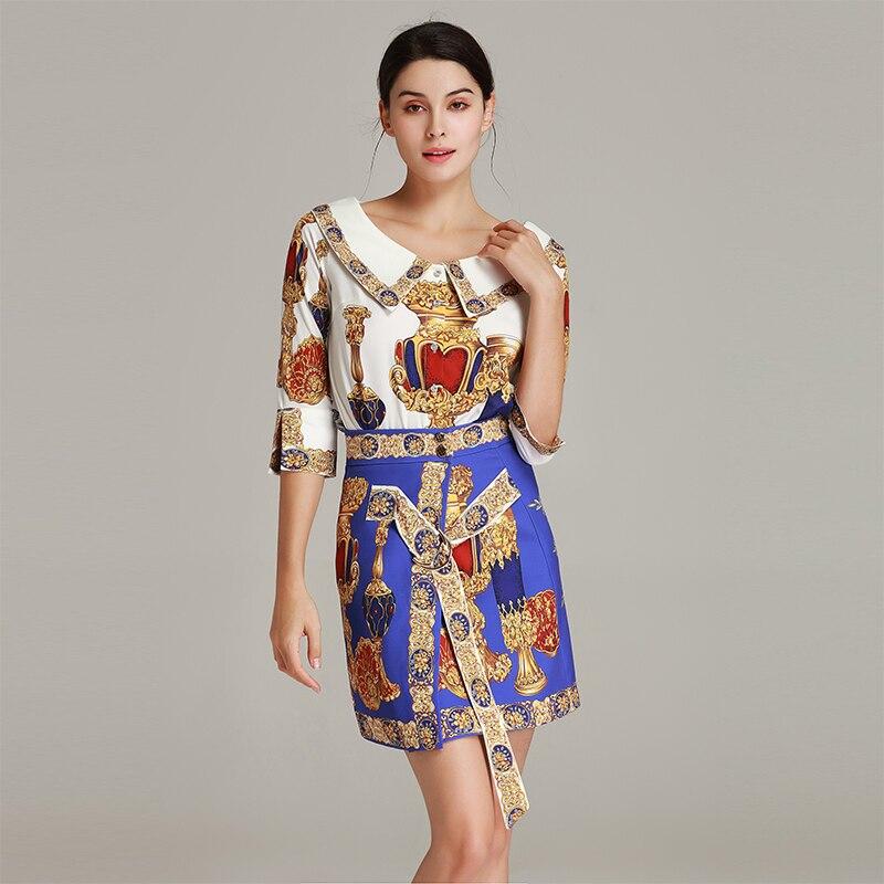 Qualité Nouveau Manches 2019 Collar 2 Costumes Imprimer Demi Jolie Peter Ensembles Blouse Pan Pièces Femme Femmes Haute Jupes FB0gqB1