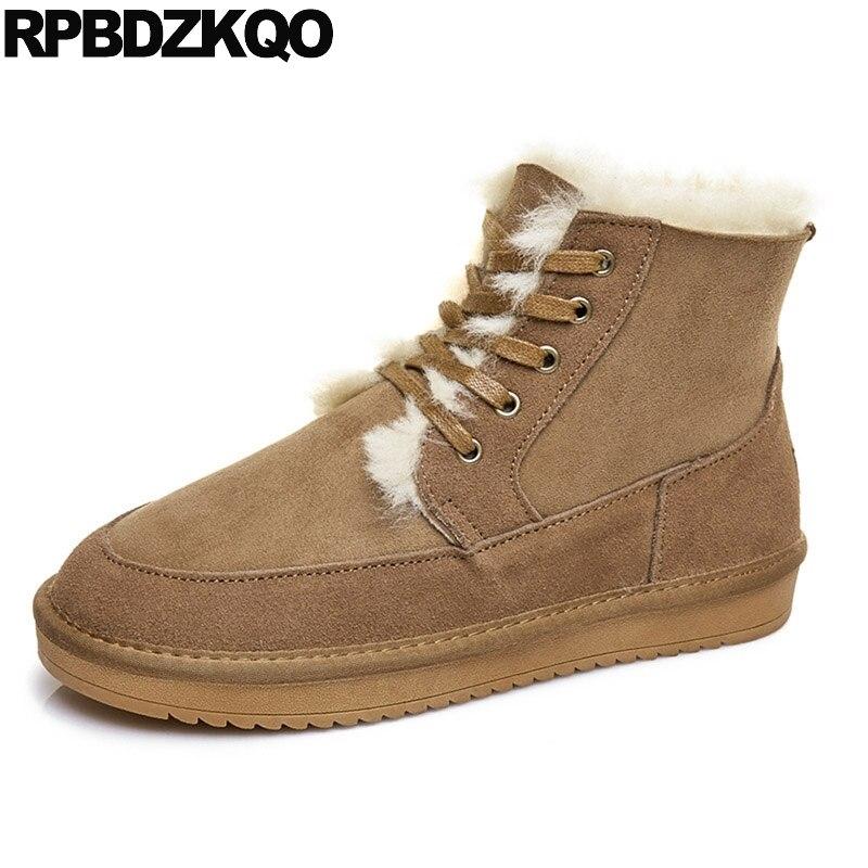 Bottines neige daim véritable fourrure à semelles épaisses marron chaussures cheville luxe Snowboot hiver hommes bottes avec haut en peau de mouton mode courte